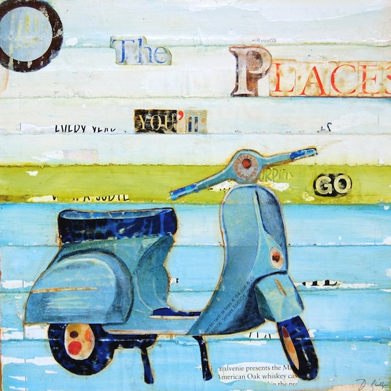 ART PRINT  Dr. Seuss Inspired Scooter Vespa Oh the Places You'll Go Nursery children's room graduation gift home decor, All Sizes