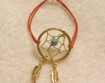 Gold Dream Catcher with Coral Stretch Cord Bracelet