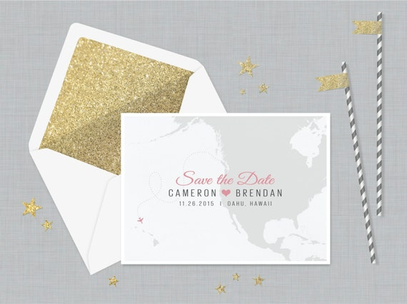 The 'Tansey' Save the Date Card; Destination Wedding, Travel, Passport Invitation, Map Save the Date, Vintage Wedding, Outdoor [Sample]