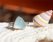 Aquamarine Ring in Sterling Silver, Gemstone, Triangle Cabochon, Hand Forged, Soldered, Bezel Set, Semi Precious Stone, Statement Ring