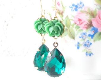 Emerald Green Dangle Earrings - Vintage Jewel Flower Earrings - Green Rhinestone - Ruffled Rose - Bride - May Birthstone Earrings