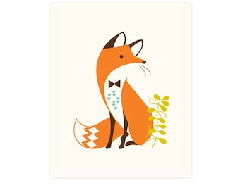 Fox wall art, modern Woodland nursery wall decor