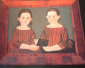 Folk Art Print - Double Portrait - Mary Cary and Susan Elizabeth Johnson- - Folk Art Print - 1848 by William Matthew Prior