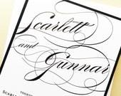 Wedding Invitation, Wedding Invite, Invitation Suite Set, Script Calligraphy Wedding Invitation