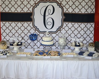 Navy and Gray Quaterfoil First Holy Communion or  Baptism Party pack - Print Your Own DIY