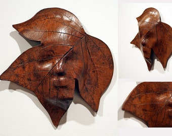 Brown Tulip Poplar Leaf Ceramic Greenman Mask Sculpture Wallhanging - leather luster brown green man wall hanging handmade pottery