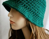 Flapper Inspired Hat Womens Crochet Hat Green Cloche Hat Brimmed Beanie Spring Fashion Winter Hat Small Brim