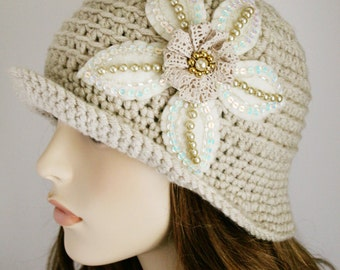 SALE 50% off Flapper Inspired Hat Womens Crochet Hat with Hand Beaded Flower Ivory Cloche Hat Brimmed Beanie Spring Fashion Off White OOAK
