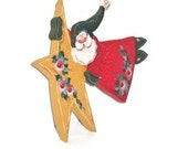 Hand Painted Santa And Star Decoration