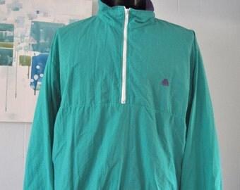 Vintage Windbreaker Jacket Teal Aqua Bright Simple Classic Tropical beach Tennis Jogging 90s MEDIUM LARGE