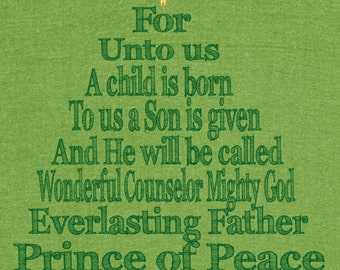 Christmas Tree Scripture Typography Art Print Isaiah 9:6 INSTANT DOWNLOAD Printable 8x10