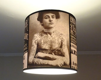 SMALL DEFECT - Vintage Tattooed Lady hanging lamp shade lampshade - Tattoo decor, drum lamp shade, pendant light, tattoo art, rockabilly