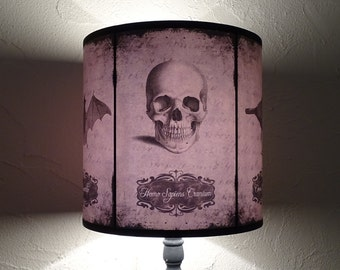 Skull lamp shade lampshade Halloween Curiosities - skull lamp, cabinet of curiosities, Halloween decor, gothic home decor, taupe lamp shade