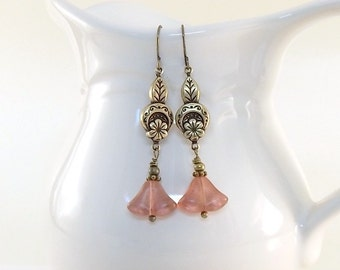 Pink Tulip Earrings - Antique Brass Earrings - Czech Glass Flower Earrings - Vintage Flower Earrings - Brass Earrings - Brass Jewelry - E075