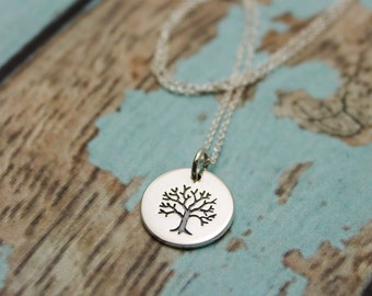 Etched Tree of Life Charm Necklace in Sterling Silver