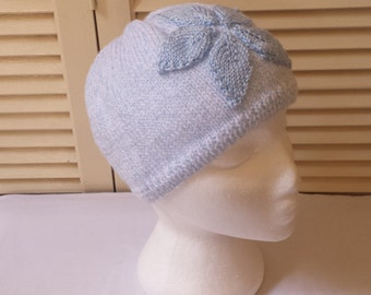 Blue Flower Womens Hand Knitted Beanie/ Knit Cap/Floral Winter Hat/ Handmade Accessories