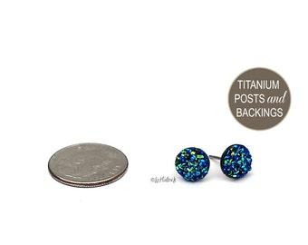 Faux Druzy Stud Earrings with Titanium Posts, 8mm Mini Drusy Glitter Posts, Black Blue Teal, Blue