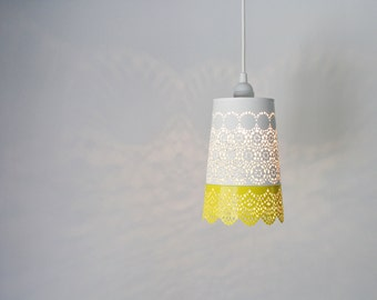 Yellow & White Lace Pendant Lamp, Colorful Hanging Lighting Fixture With A Metal Mesh Lace Shade, Modern BootsNGus Lights And Home Decor