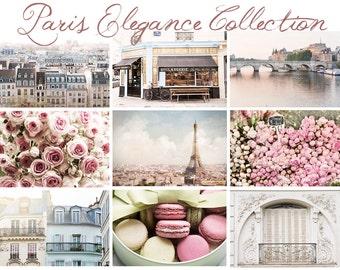 Scenes of Paris Photo Postcards - Eiffel Tower, Laduree Macarons, Roses, Flower Market, Wall Art