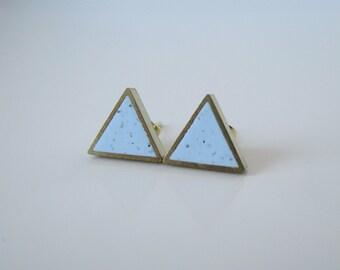 baby blue granite small brass triangle stud earrings