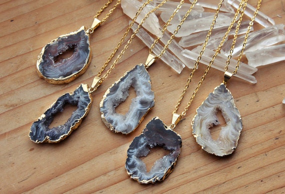 Gold Coated Agate Slice Raw Necklaces Large Natural Stone