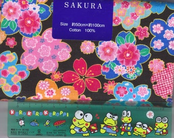 Black Cherry Blossom Material - 100% Cotton - 50cm x 100cm (19.7 x 39.4 inches) - Reference L6