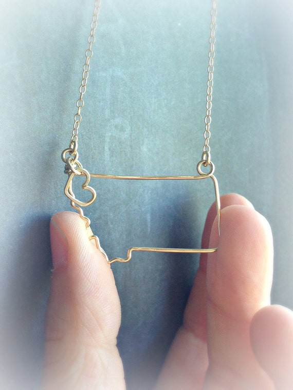 Montana Necklace - Montana State Necklace - State Necklace - Silver or Gold - Custom State Necklace - State Outline Necklace- Montana