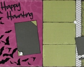 12x12 Halloween Scrapbook Kit 2 Page Layout Happy Haunting