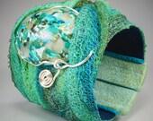 Wide Wrap Turquoise Blue Teal Seafoam Green Stone Fiber Cuff Bracelet - Silver Wire Flexible No. 169