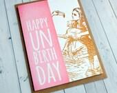Alice in Wonderland Birthday Card - Bookmark Alice in Wonderland - Book Lover - Pink - Birthday Card for Her -  158