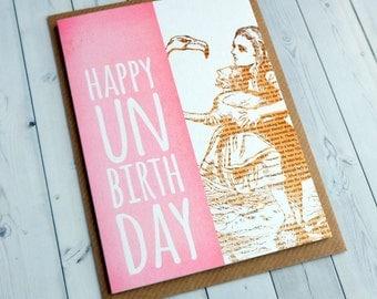 SALE Alice in Wonderland Birthday Card - Bookmark Alice in Wonderland - Book Lover - Pink - Birthday Card for Her -  158
