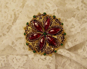 Vintage Orange Crystals and Green Beads Brooch Pin, Gold Tone, Christmas Circle Dome Pin, Estate Jewelry, 1970's Pin Brooch