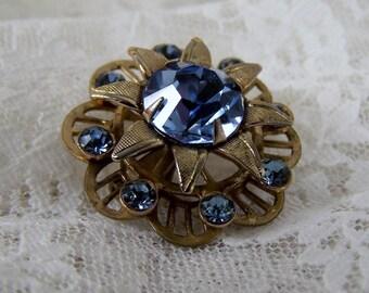 Vintage Circle Flower Pin, Deep Aqua Blue Rhinestone, Silver Tone Brooch,Something Blue, Estate Costume Wedding Bridal Jewelry, Centerpiece