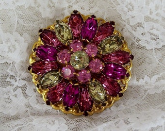 Large Pink and Green Brooch, Prong Set Rhinestone Pin, Vintage Gold Round, Estate Costume Jewelry, Retro, Bridal Bouquet, Statement Piece