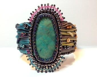 Shibori Bead Embroidered Cuff Bracelet with Arizona Chrysocolla Cabochon