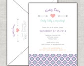 Baby Love Arrows Baby Shower Invitation in Lavender, Coral & Turquoise Tribal, Aztec, Heart, Arrow