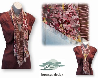 Beaded Scarf Brown & Pink Stripe Chiffon and Multi-Color Tree Print Chiffon with Beaded Fringe, Marsala, One of a Kind, Ready to Ship