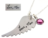 Actual Handwriting - Angel Wing Sterling Silver Necklace
