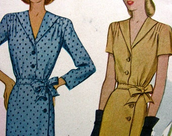 UNCUT Vintage 1940's McCall Pattern 5969 * RARE * LOVELY Misses' Wrap-Around Dress   * Size 16 Bust 34