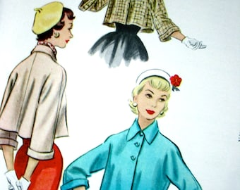 UNCUT - 1950s  McCalls  Pattern 9420 *  Misses' Swing Jackets for Day and Evening    * Factory Folded * Bust 36