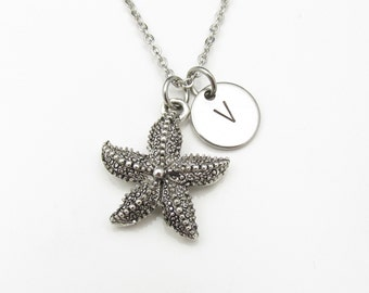 Starfish Necklace with Initial Charm (Y019). Silver Starfish with Personalized Initial Letter. Antique Silver Stamped Monogram Necklace