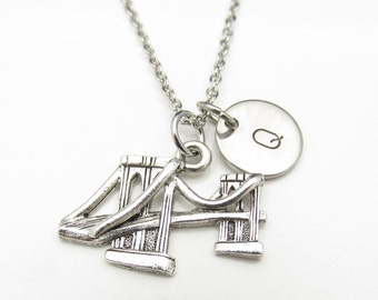 Brooklyn Bridge Necklace with Initial Charm (Y029). Silver Brooklyn Bridge with Personalized Initial. Custom Stamped Monogram Necklace