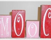 Valentine Smooch Blocks Wood Set Pink And Red With Glitter