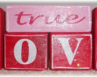 Valentine True Love Blocks Wood Set Pink And Red With Glitter