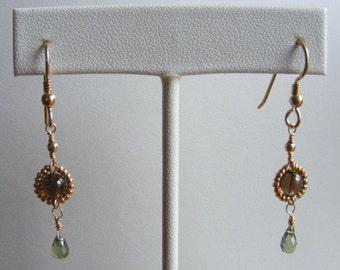 Ageless - Smokey Quartz and Green Apatite Earrings