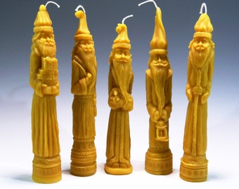 Beeswax Pencil Santa Candles (5) Belsnickle Beeswax Candle Primitive Folk Art Christmas Ornaments 100% Pure Beeswax Honey Scented Candle