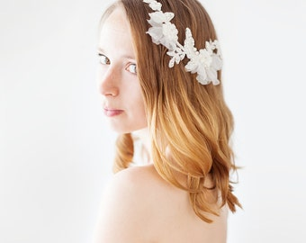 Bridal Headpiece, Wedding Hair accessory, Lace Headpiece, Bridal Adornment, Floral Headpiece, Ivory - Style 420