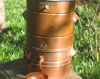 SALE 30s Copper Food Steamer Juicer antique 2 level, large w spigot and cup