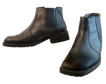Mens Black Chelsea Boots // Heavy Leather Old School Biker Style // Square Toe Size 12 Medium //  Rock, Hip, Comfort, Grunge Claiborne