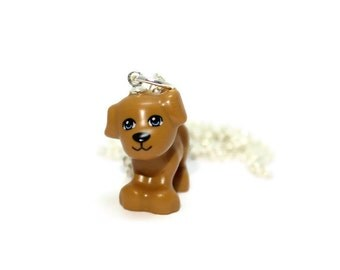 Puppy Necklace made from New Brown Puppy LEGO®  Piece